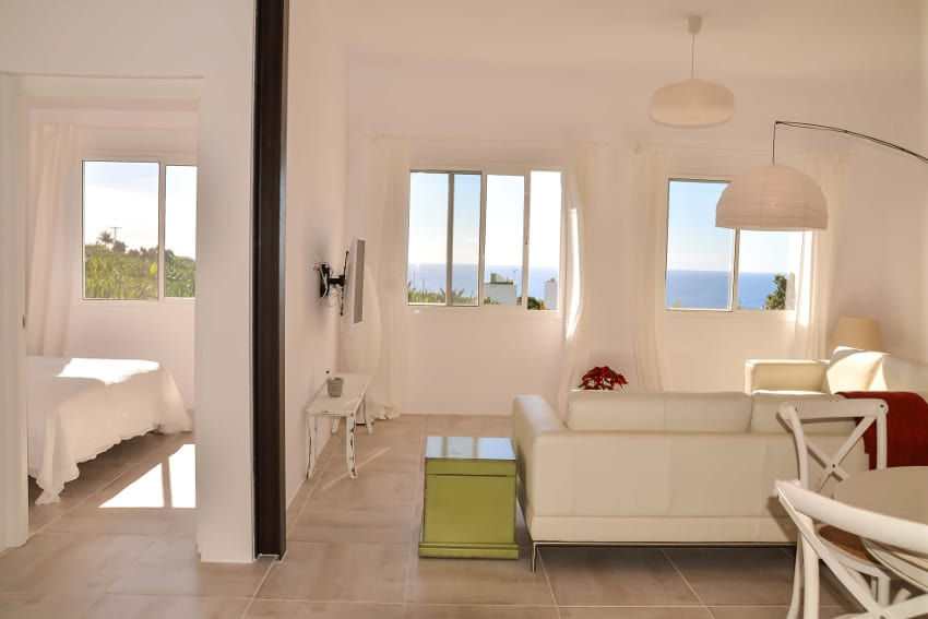 Spain - Canary Islands - La Palma - Tazacorte - Casa Alma Marina - living room with Flat TV and ocean view