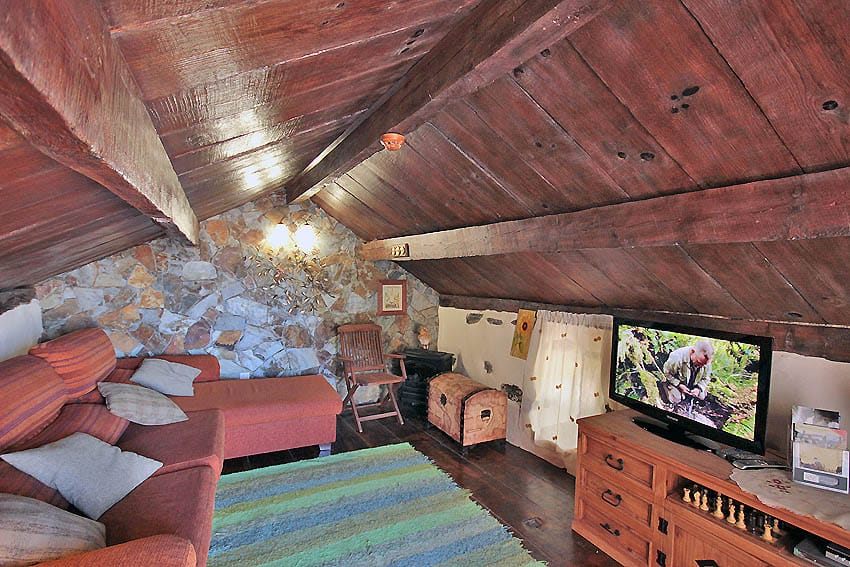 Salón rústico con techo de madera
