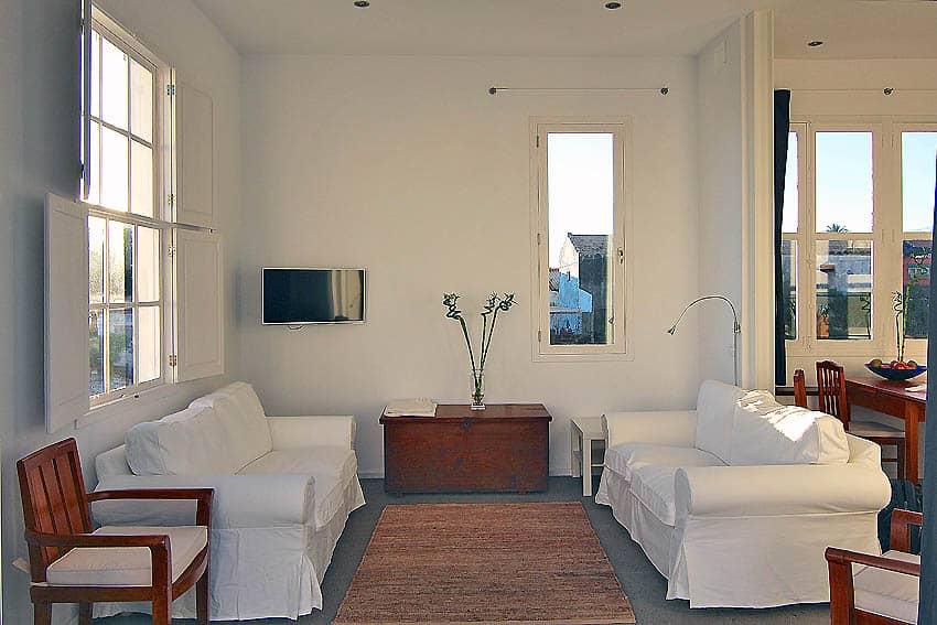 Villa mit Privatpool La Palma La Breña: Sofas im Wohnzimmer