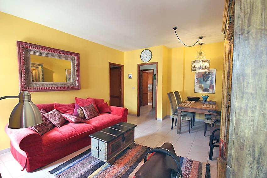 España - Islas Canarias - La Palma - Tazacorte - Apartamento Mar y Musica - Salón comedor con sofá