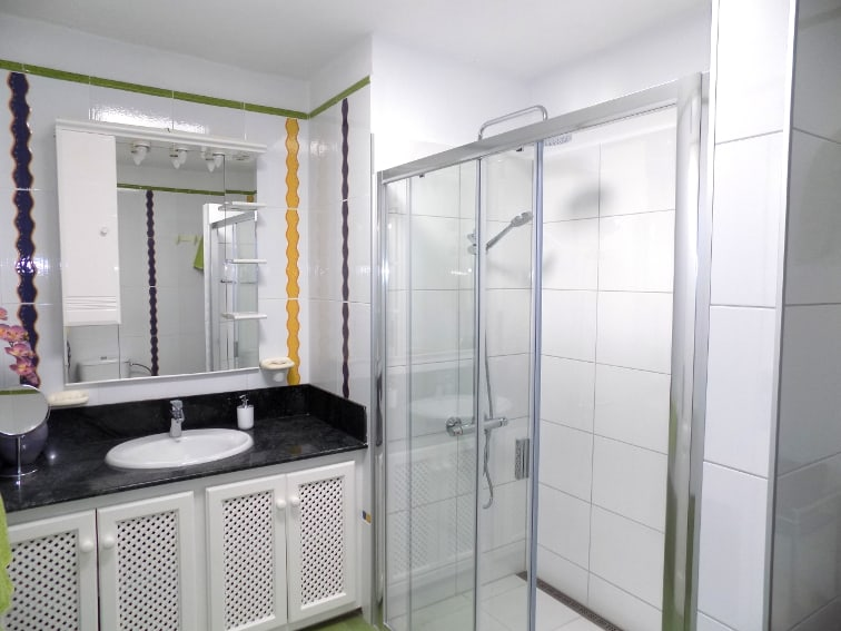 Spain - Canary Islands - La Palma - Los Llanos - Villa Panorámica - Bright bathroom with shower