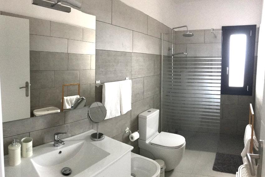 Spain - Canary Islands - La Palma - Los Llanos de Aridane - Villa La Graja - Modern bathroom with lavatory, bidet and shower