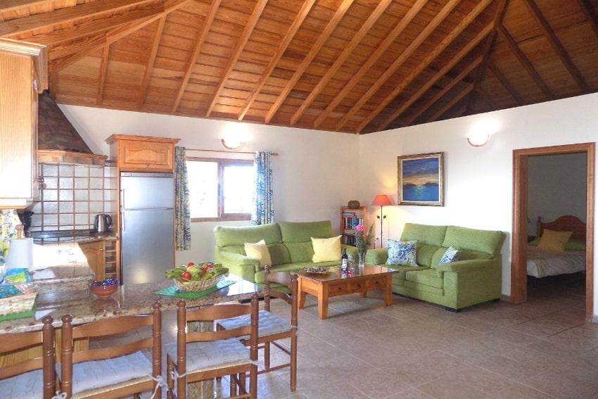Spain - Canary Islands - La Palma - Puntagorda - Casa Candelario - Cozy living and dining area under original Canarian wooden ceiling