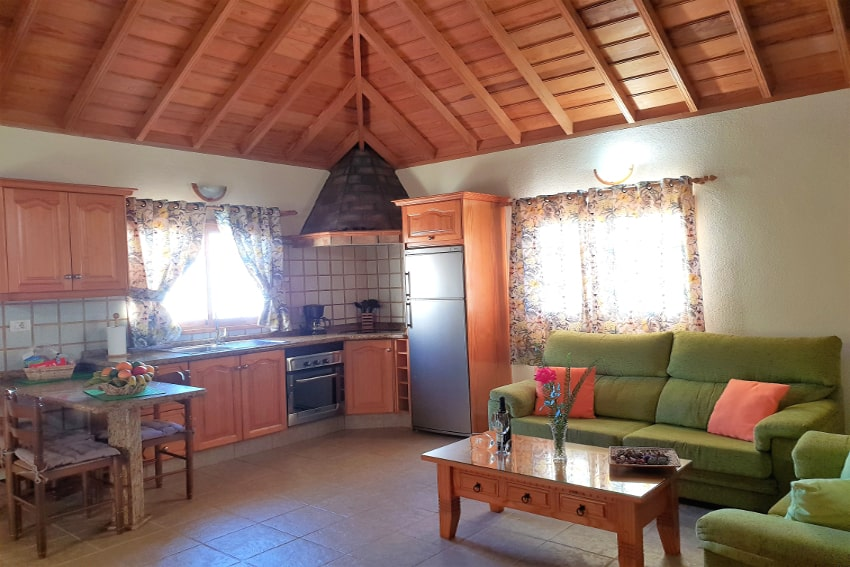 Spain - Canary Islands - La Palma - Puntagorda - Casa Candelario - beautiful living room with fully equipped American kitchen