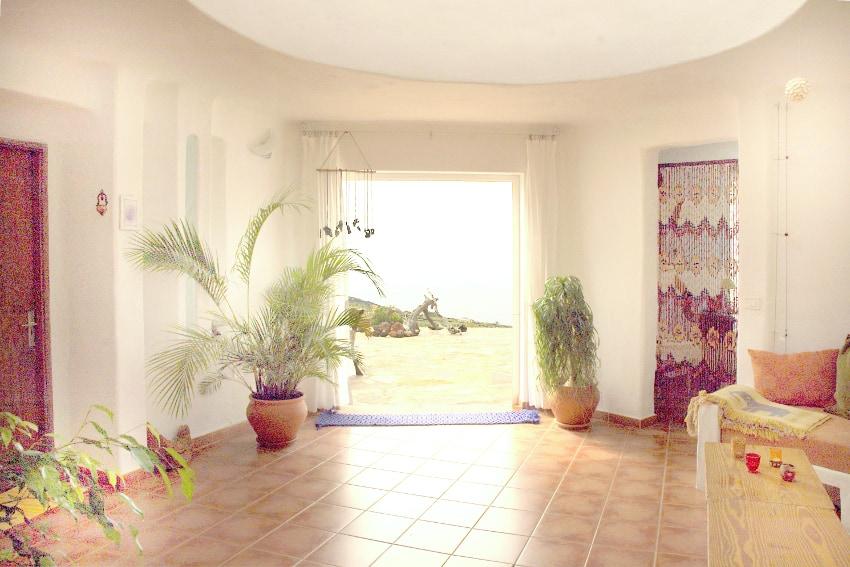 Spain - Canary Islands - El Hierro - Frontera - Casa Estrella - Living area with view towards the Atlantic Ocean