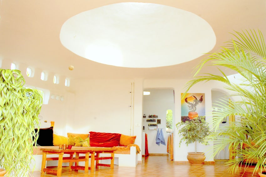 Spain - Canary Islands - El Hierro - Frontera - Casa Estrella - Living area with view towards kitchen and bathroom