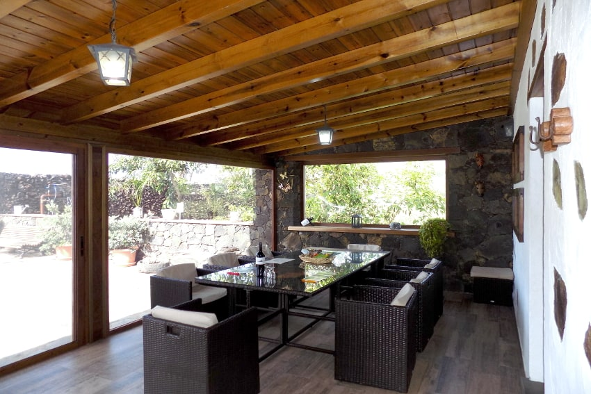 Spain - Canary Islands - El Hierro - Frontera - Finca Arteaga - Cozy living room with TV and large dining table