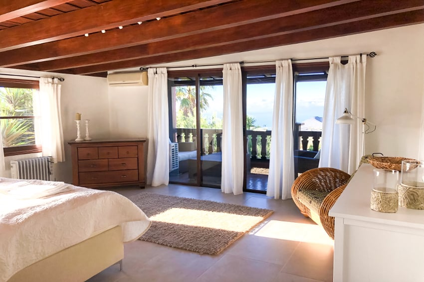 Spain - Canary Islands - La Palma - Fuencaliente - Finca Teneguía- Master bedroom on the upper floor with ocean view and towards El Hierro