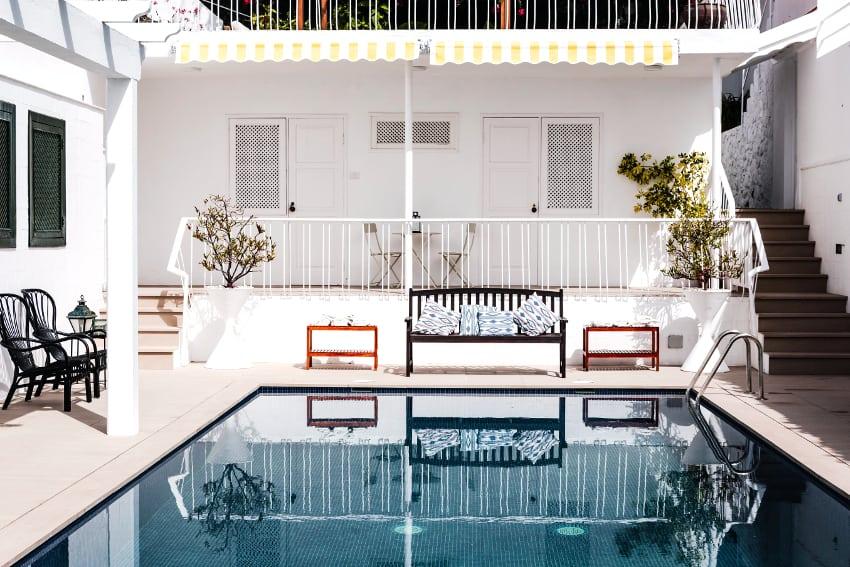 Spain - Canary Islands - La Palma - Puerto de Tazacorte - Villa Imperial - View from the pool towards the apartment