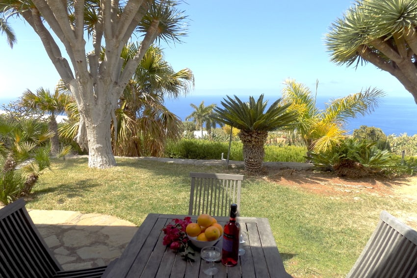 Spain - Canary Islands - La Palma - La Punta - Casa La Gorgonia - View from the bedroom towards the garden and the Atlantic Ocean