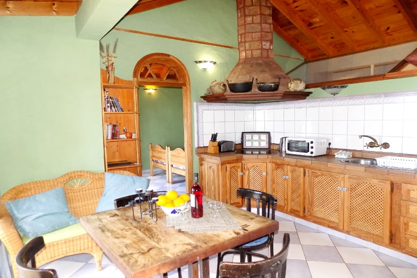 Spain - Canary Islands - La Palma - La Punta - Casa La Gorgonia - dining and living room with American kitchen and SAT-TV