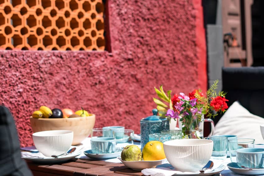 Spain - Canary Islands - La Palma - Fuencaliente - Finca Teneguía - Yummy breakfast on the sunny outdoor terrace