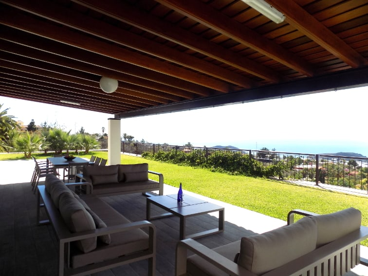 Spain - Canary Islands - La Palma - Tajuya - Villa Royal - spacious terrace fr relaxation with fantastic view overlooking the Aridane valley and the Atlantic Ocean