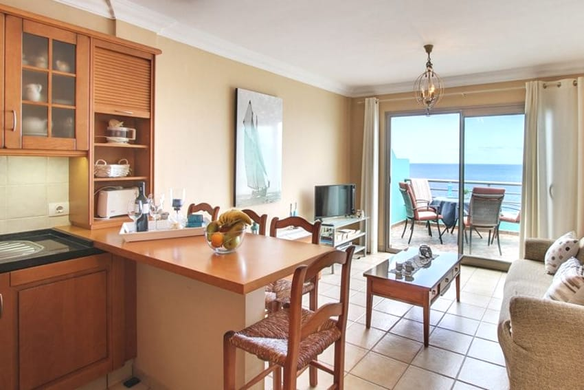 Spain - Canary Islands - La Palma - Puerto Naos - Apartment Brisa del Mar - Living and dining area with sea views