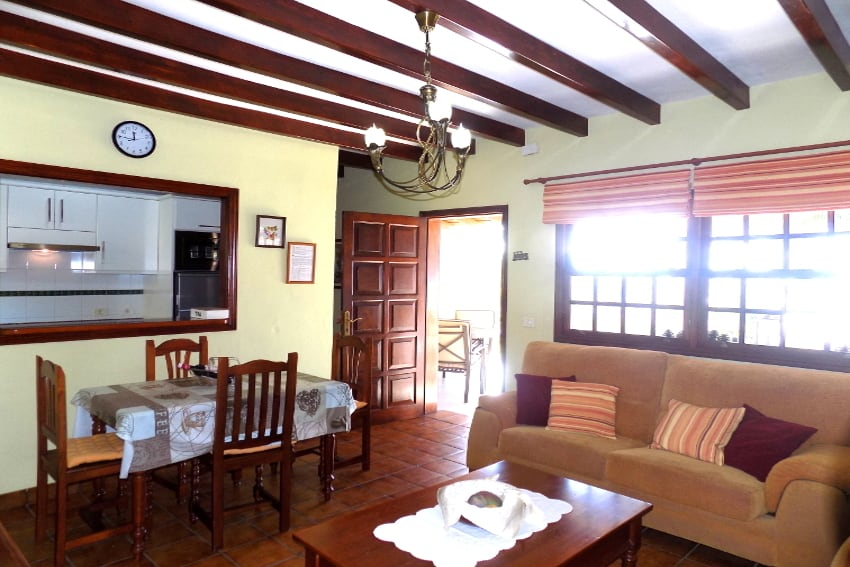 Spain - Canary Islands - La Palma - La Punta - Casa Paula - comfortable living and dining room with direct access to the garden terrace