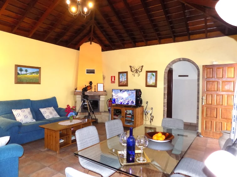 Spain - Canary Islands - La Palma - La Punta - Casa van de Walle - Cozy living and dining area with flat screen and chimney