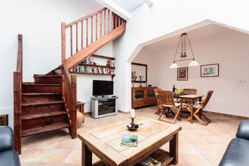 Spain - Canary Islands - La Palma - Tazacorte - Casa Havana - Cozy living room with dining area and stairs up to the rooftop