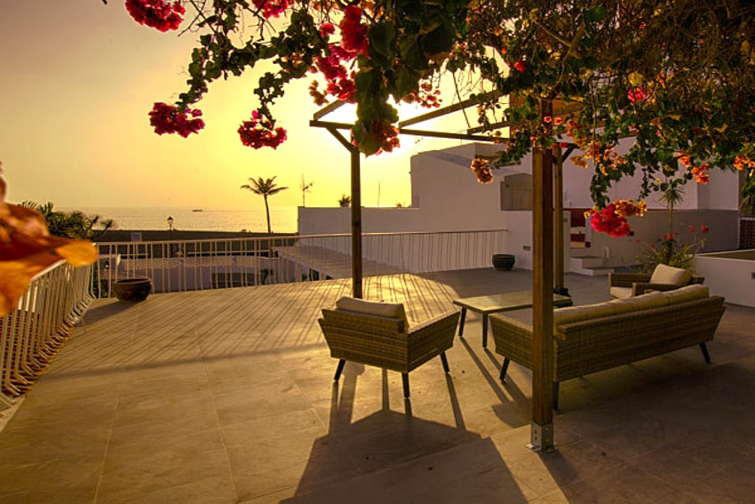 Spain - Canary Islands - La Palma - Puerto de Tazacorte - Villa Imperial - Evening mood with sunset at the Skylounge of Villa Imperial in Puerto de Tazacorte