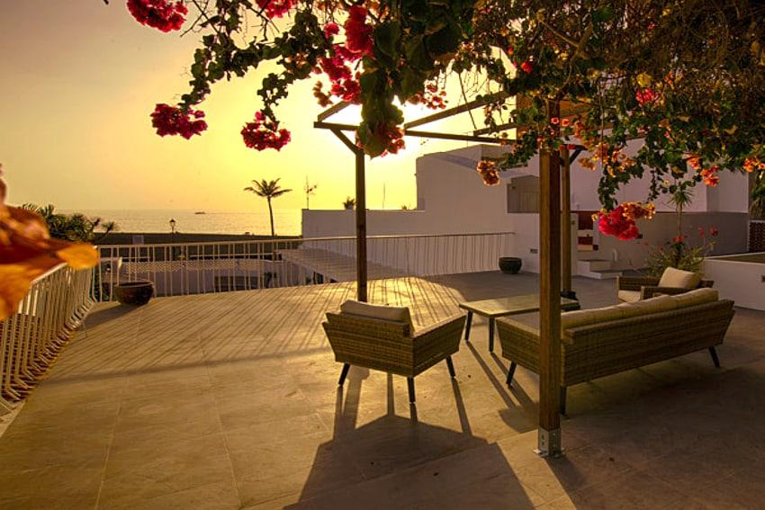 Spain - Canary Islands - La Palma - Puerto de Tazacorte - Villa Imperial - Evening mood with sunset at the Skylounge of Villa Imperial in Puerto de Tazacorte