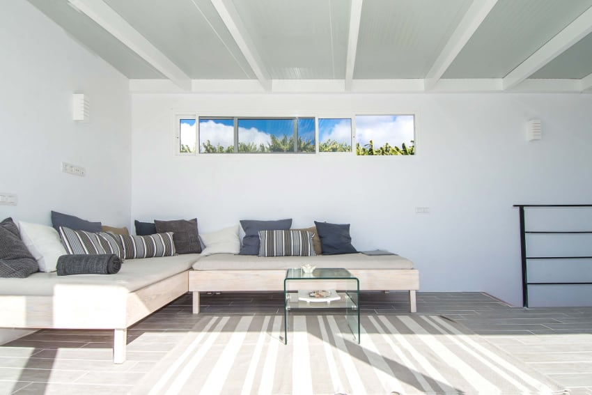 España - Islas Canarias - La Palma - Tazacorte - Casa Alma Marina - Salón para dormir con dos camas individuales